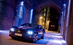 Picture night, black, lights, coupe, Chevrolet, lights, Camaro, Chevrolet, Camaro, Coupe, the front, Muscle car, Muscle …