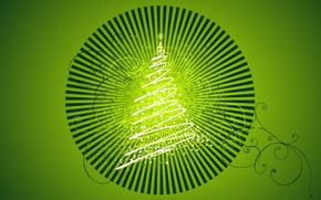 Picture holiday, tree, new year, green background