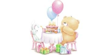 Picture balls, each, mood, birthday, holiday, gift, candles, rabbit, art, bear, cake, children's, Forever Friends Deckchair …