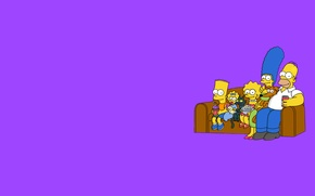 Picture sofa, The simpsons, minimalism, purple background, The Simpsons