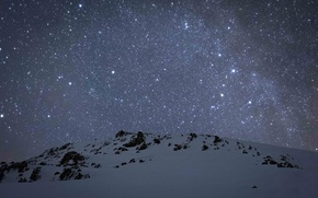 Picture winter, space, stars, snow, mountains, The Milky Way, secrets