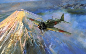 Picture the sky, clouds, war, Mitsubishi, Mitsubishi, Art, Zero, Fuji, Zero, Travel, A6M5, Zeke, mount Fuji, …