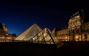 Picture light, night, the city, France, Paris, The Louvre, lighting, pyramid, Paris, Museum, France, Louvre