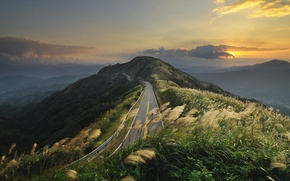 Picture road, clouds, hills, Mountains