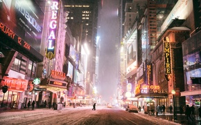 Picture Manhattan, skyscrapers, NYC, winter, road, machine, the city, lights, night, building, New York City, stores, ...