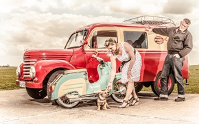 Picture auto, girl, retro, Moto, dog, vintage