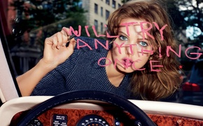 Wallpaper look, Terry Richardson, on the glass, lipstick, car, brown hair, Lindsay Vikson, hairstyle, writes, photographer, ...