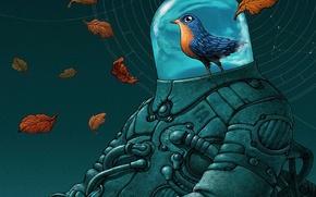 Wallpaper leaves, bird, robot