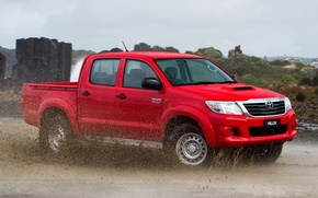 Picture Water, Auto, Japan, Australia, Wallpaper, Dirt, Squirt, Red, Toyota, Car, Pickup, Auto, Hilux, Wallpapers, 4x4, …
