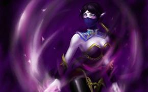 Picture girl, magic, art, beauty, Dota 2, Lana, Templar Assassin, aura