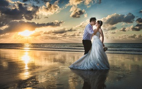 Picture sea, clouds, love, kiss, dress, Asian, the bride, sea, sunset, kiss, lovers, feeling, the groom, …
