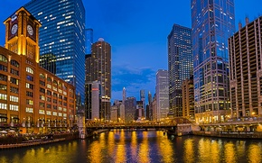 Picture bridge, the city, river, watch, building, home, skyscrapers, the evening, lighting, Chicago, USA, USA, Il, …