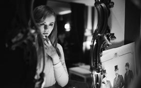 Picture girl, reflection, model, mirror, black and white, beautiful, looks, Kristina Bazan, Kristina Bazan, BW