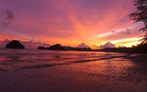 Picture Thailand, trees, ocean, sunset, water, rocks, people, sand, bay, Asia, Krabi, Ao Nang, dive site, ...