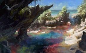 Picture sand, sea, beach, girl, birds, rocks, seagulls, boy, art, Diablo 3, Witch Doctor