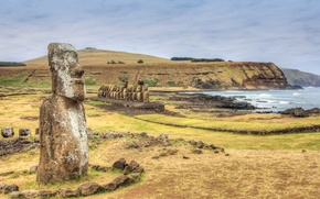 Picture sea, the sky, rocks, Easter island, statue, Chile, Rapa Nui, moai
