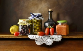 Picture table, background, bottle, dishes, vegetables, citrus, napkin, preserving