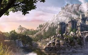 Picture trees, mountains, bridge, river, stones, castle, fortress