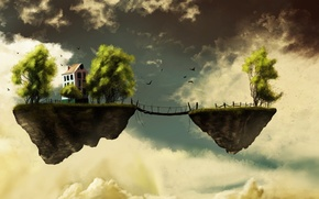 Picture the sky, birds, clouds, bridge, earth, house