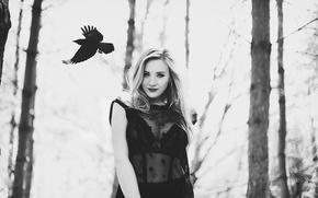 Wallpaper girl, smile, crow, Amy Spanos