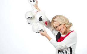 Picture Blonde, White background, Actress, Anna Khilkevich, Anya Khilkevich, Teddy bear