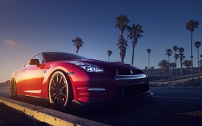 Picture Nissan, Red, Front, R35, Road, Palms, Sundown, Gt-r
