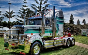 Picture grass, trees, Park, lawn, USA, usa, truck, tractor, American tractor, western star