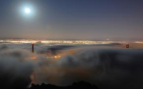 Picture bridge, USA, america, the city, lights, the evening, haze, night, America, CA, bridge, golden gate, ...