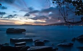 Wallpaper shore, the evening, Stones