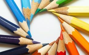 Picture color, round, pencils