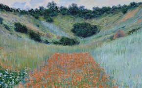 Wallpaper landscape, picture, Claude Monet, Poppy field in a Hollow near Giverny