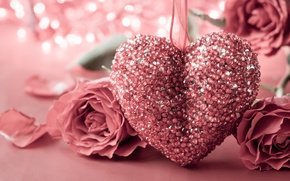 Picture heart, rose, love, rose, heart, pink, romantic, Valentine's Day