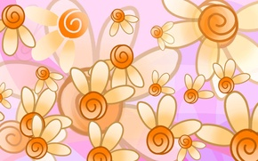 Picture flowers, abstraction, paint, vector, petals