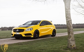 Wallpaper automotive, yellow, A45AMG, mulgari, A45, AMG, Mercedes