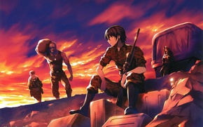 Picture sunset, truck, camouflage, guys, rifle, art, equipment, mercenaries, grisa of no kajitsu, yuuji kazami, fumio