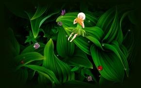 Picture art, girl, Thumbelina, mohaka