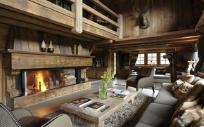 Picture design, style, tree, Villa, interior, fireplace, living room
