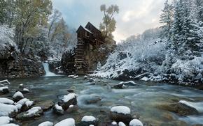 Wallpaper snow, river, mill, Crystal Mill