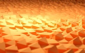 Picture sand, macro, light, orange, rendering, geometry