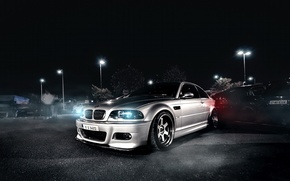 Picture BMW, night, front, E46, silvery