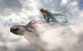 Picture girl, clouds, turtle