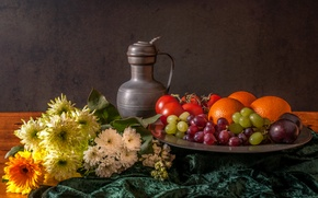 Picture flowers, berries, pitcher, fruit, still life
