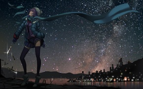 Picture cold, girl, night, the city, street, art, senjougahara hitagi, bakemonogatari, scissors, madyy, knives