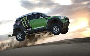Picture sunset, The sun, The sky, Sand, Auto, Wheel, Sport, Green, Machine, Race, Case, Mini Cooper, …