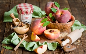 Picture dishes, sugar, Board, fruit, still life, cinnamon, peaches, slices, vanilla, nectarine, spices, rolling pin, star ...