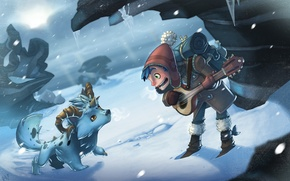 Picture winter, snow, hat, boy, icicles, animal, Blizzard, backpack, Horny, brancale