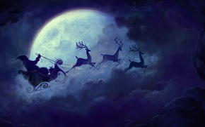 Picture stars, clouds, night, the moon, Christmas, New year, sleigh, deer, Santa