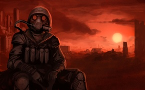 Picture sunset, Apocalypse, gas mask