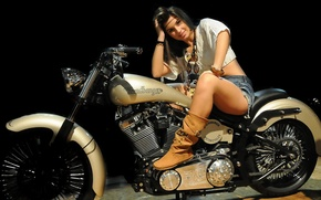 Picture look, girl, motorcycle