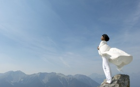 Wallpaper girl, mountains, in white, the sky, the wind, rocks, top